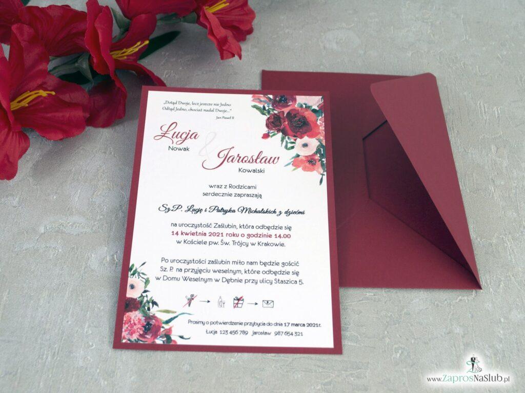 Bordowe zaproszenia na ślub z kwiatami ZAP-140