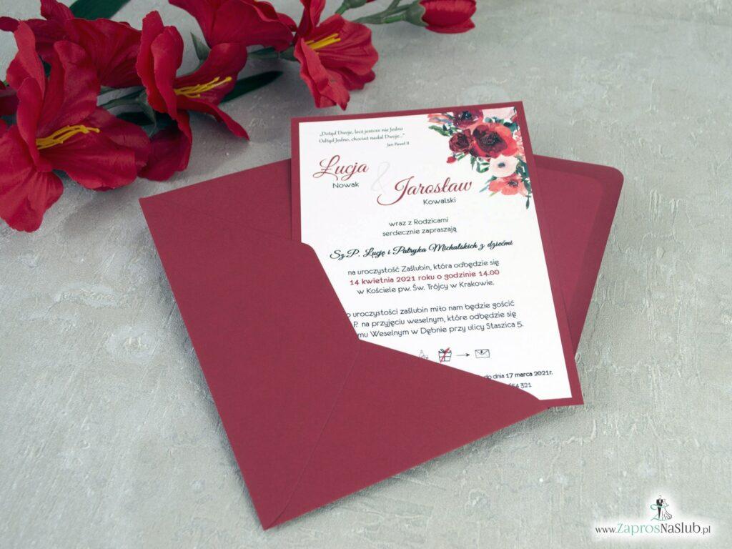 Bordowe zaproszenia ślubne z czerwono bordowymi kwiatami ZAP-140