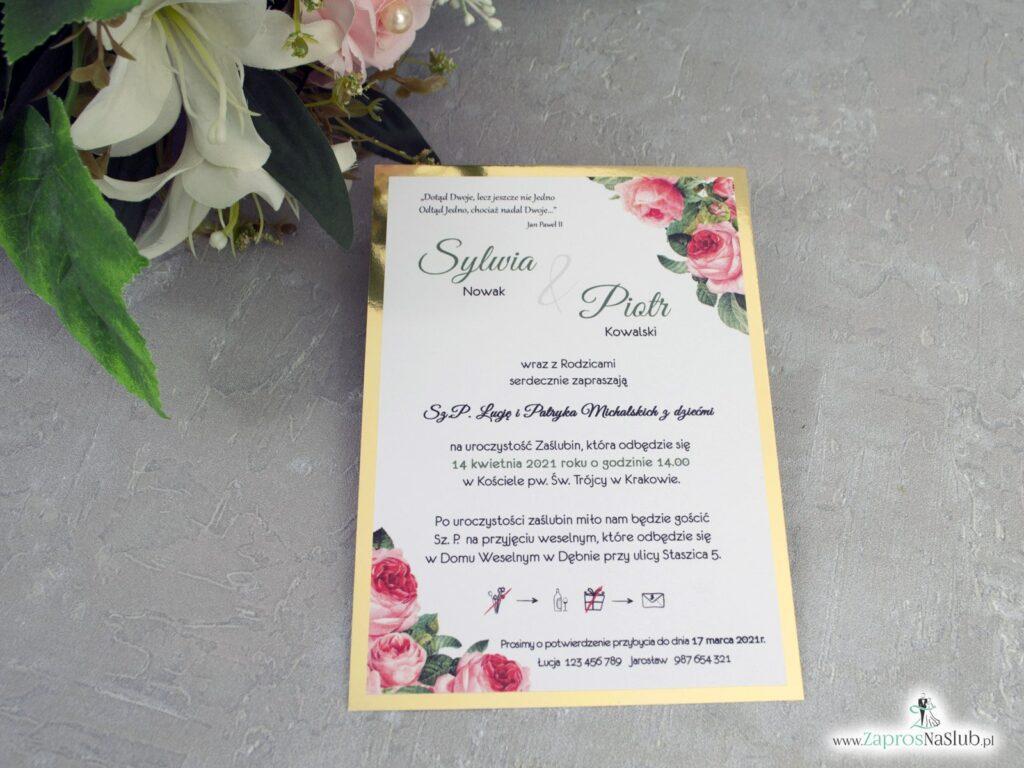 Eleganckie zaproszenia złote z różami ZAP-110-2