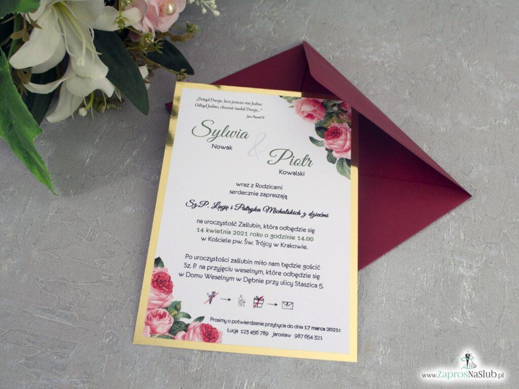 Modne zaproszenia ślubne z kwiatami róży na złotym papierze z efektem lustra ZAP-110-2