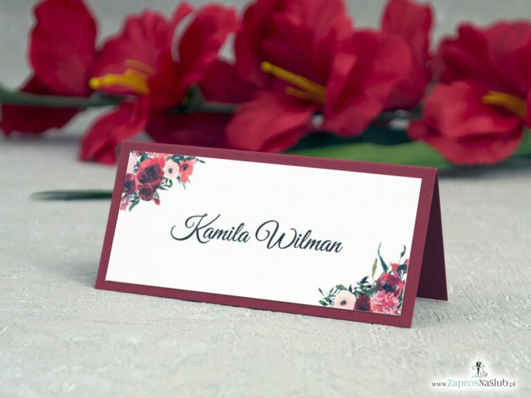 Winietki w kolorze bordowym z kwiatami WIN-140