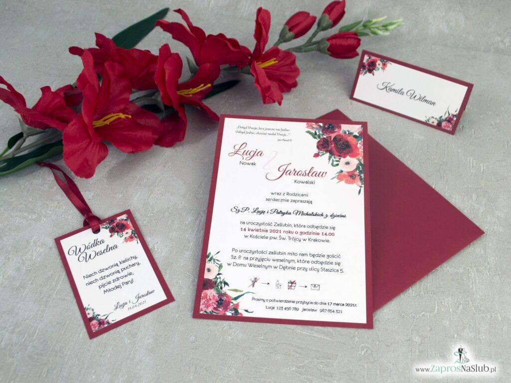 Zaproszenia na ślub z bordowymi kwiatami na bordowym papierze ZAP-140