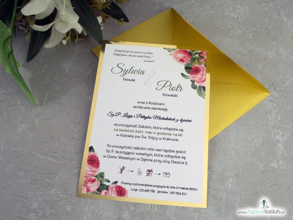 Zaproszenia na ślub złote z kwiatami róży ZAP-110-2
