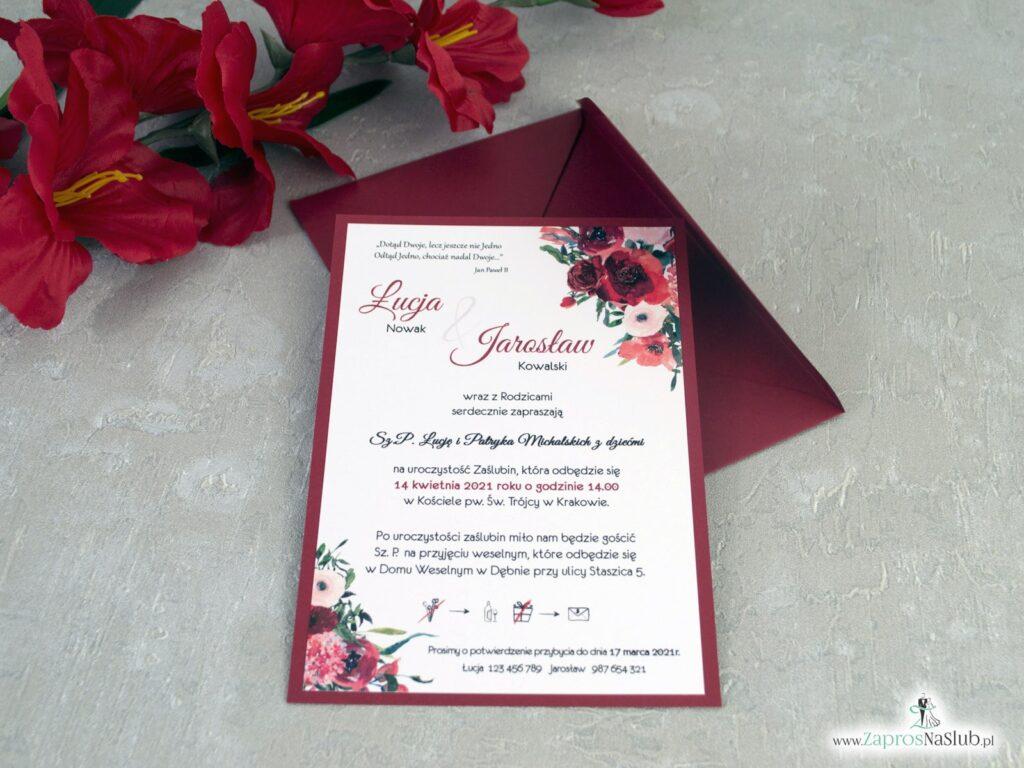 Zaproszenia ślubne bordowe, kwiaty bordowe ZAP-140