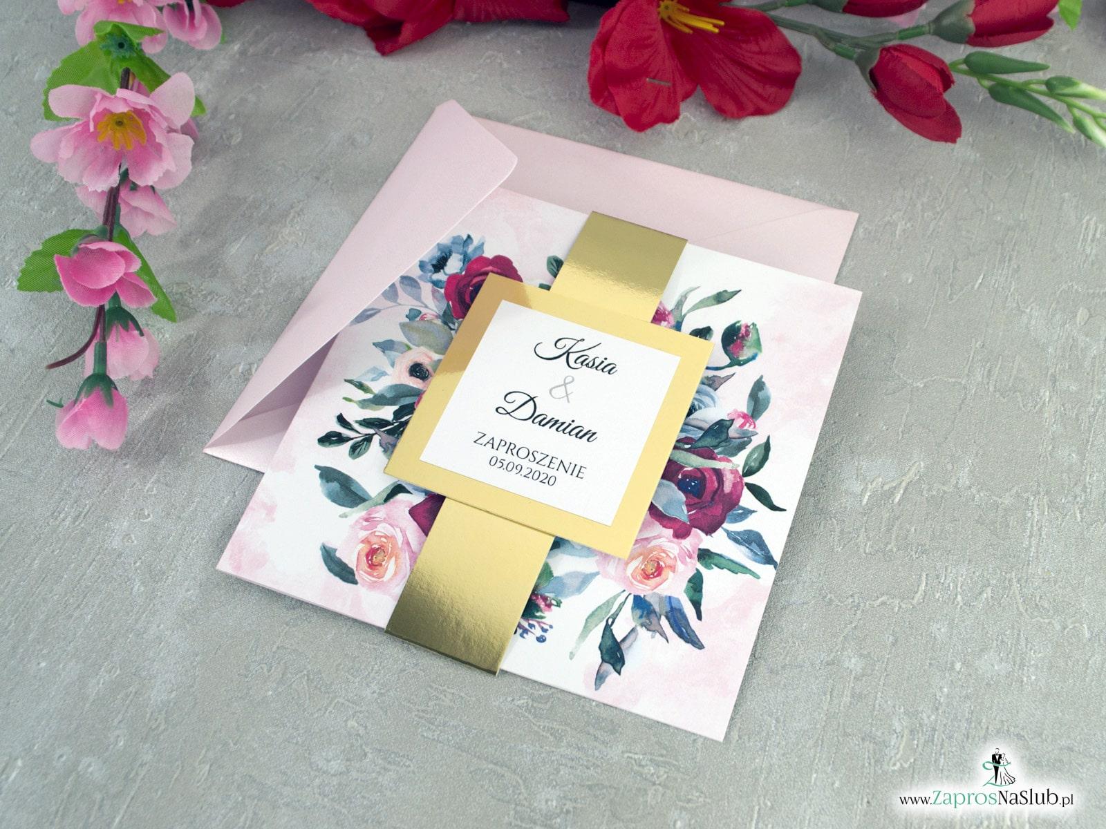 Zaproszenia ślubne z kwiatami róży oraz złotą opaską ZAP-142