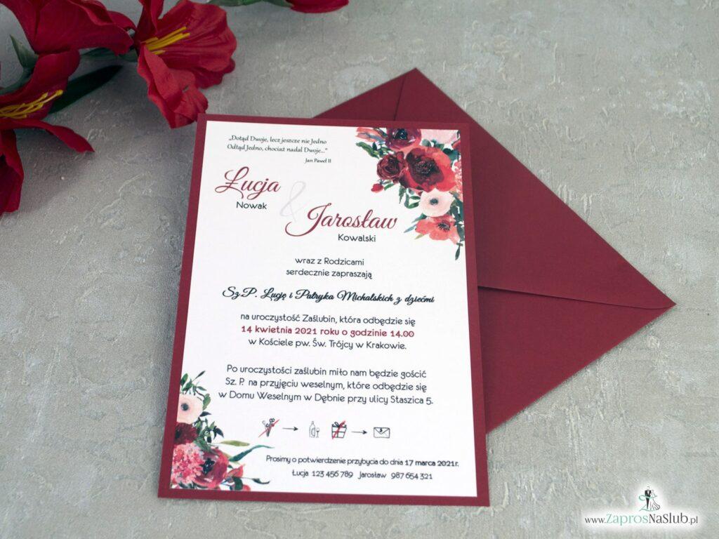 Zaproszenia ślubne bordowe z kwiatami ZAP-140