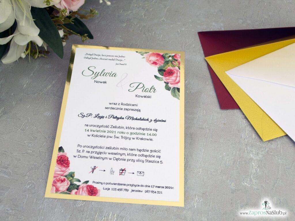 Zaproszenia ślubne z kwiatami róży i złotym papierem ZAP-110-2