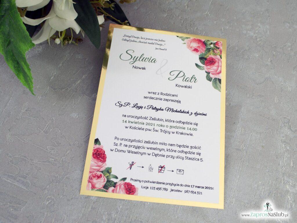 Zaproszenia ślubne złote lustro i różowe kwiaty ZAP-110-2