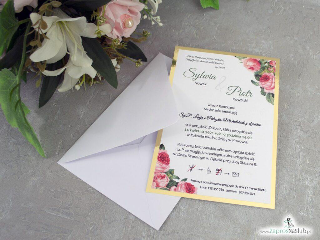 Zaproszenie na ślub z różami i złotym papierem z efektem lustra ZAP-110-2