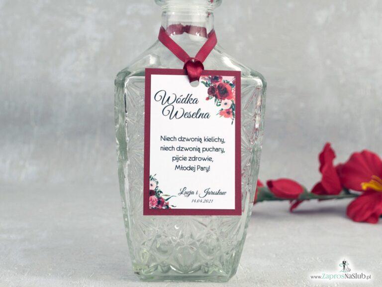 Zawieszka na alkohol bordowa z kwiatami ZAW-140