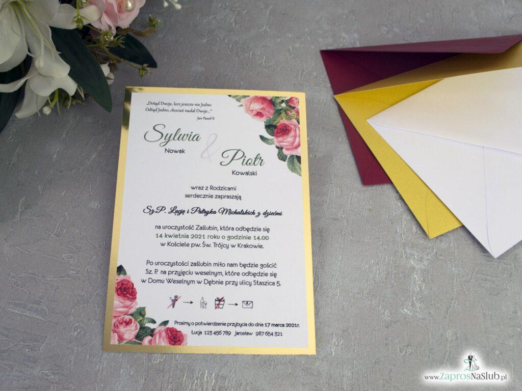 Złote zaproszenie ślubne z różowymi kwiatami ZAP-110-2