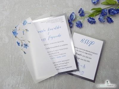 Eleganckie kwiatowe zaproszenie ślubne na kalce oraz srebrnym papierrze z kwiatami dzwonków - Zaproszenia ślubne ZaprosNaSlub