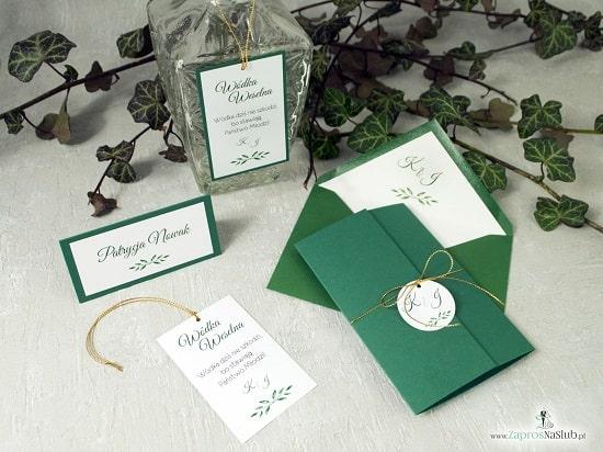 Rustykalne zaproszenia botaniczne z liśćmi w różnych odcieniach - Zaproszenia ślubne ZaprosNaSlub