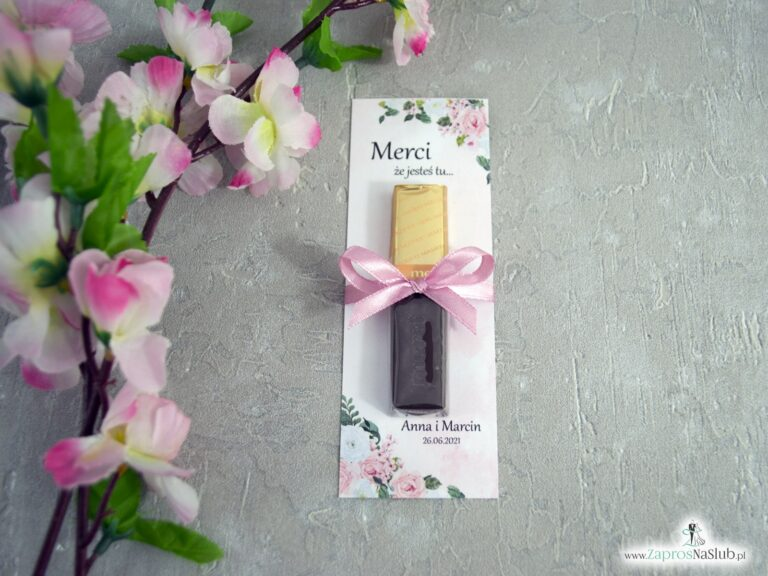 Podziękowanie dla gości Merci – podkładka z biało różowymi kwiatami MER-41-12 - ZaprosNaSlub
