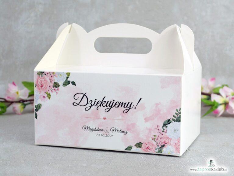 Pudełko na ciasto z biało różowymi kwiatami  PNC-41-12 - ZaprosNaSlub