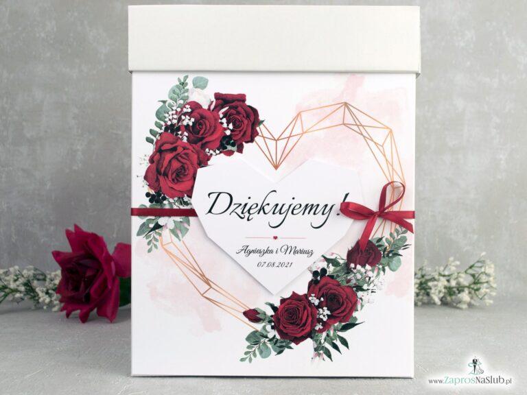 Pudełko na koperty z czerwonymi różami i geometrycznym sercem. PNK-41-09 - ZaprosNaSlub